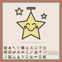 Christmas Star Decoration Color Line Icon Set, Vector, Illustration