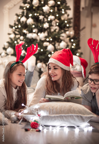 Fotografie, Obraz  Aunt reading fairy tales to her nephew and niece in front of Christmas tree in t