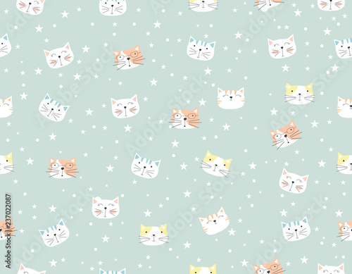obraz PCV Cute cat cartoon seamless pattern animal.vector,illustration