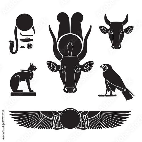 Obraz na płótnie Set of ancient egypt silhouettes