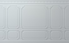 Classic Wall Of White Wood Panels. Design And Technology