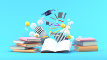 School Supplies Floating Out Of A Book Amidst Colorful Balls On A Blue Background.-3d Render..
