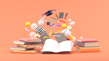 School Supplies Floating Out Of A Book Amidst Colorful Balls On A Pink Background.-3d Render..