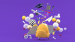 canvas print picture - School Supplies Floating out of a school bag amidst colorful balls on a purple background.-3d render..