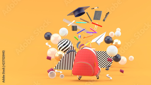 Recess Fitting Graphic Prints School Supplies Floating out of a school bag amidst colorful balls on an orange background.-3d render..