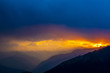 Sunrise over the Pir Panjal Range, clouds, raining, sunrise through the clouds, sunrise over the himalayas, rainy season