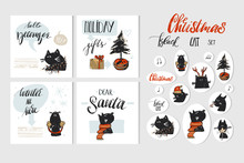 Hand Drawn Vector Abstract Merry Christmas And Happy New Year Time Cartoon Illustration Greeting Cards Collection Set With Xmas Cats And Christmas Stickers Isolated On White Background