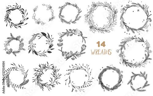 Fotografiet Christmas wreaths set.