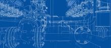 Sketch Of Industrial Equipment. 3d Illustration