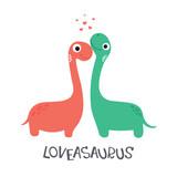 Fototapeta Dinusie - Cute dinosaur couple. Loveasaurus. Vector illustration