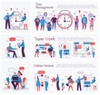 Vector illustrations of the office concept business people in the flat style. E-commerce, time management, start up, digital marketing and mobile advertising business concept. - Vector