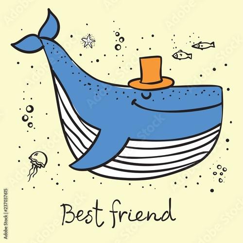 Fototapeta premium Wektor ilustracja karta z ładny wieloryb oceaniczny w kolorze i zabawny cytat motywacji Najlepszy przyjaciel