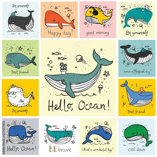 Fototapeta premium Wektor ilustracja karty z słodkie wieloryby i śmieszne cytaty wyciągnąć rękę - wektor