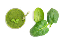 Spinach Smoothies. Healthy Green Juice Iwith Spinach Leaves Solated On White Background. Top View