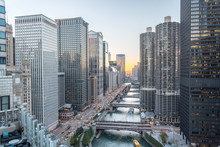 Chicago Skylines Along River W...