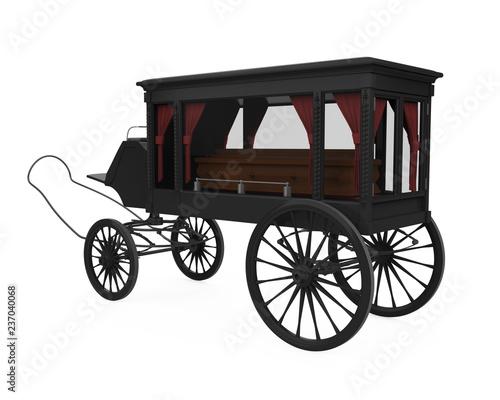 Fotografie, Obraz  Horse Drawn Hearse Isolated