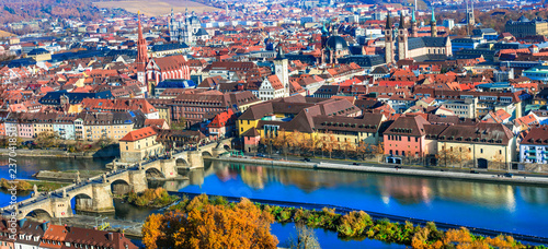Landmarks of Germany - cityscape of beautiful Wurzburg in Bavaria.
