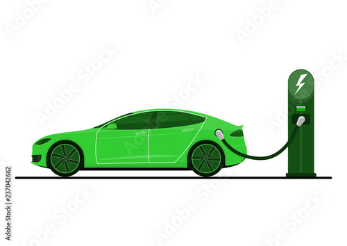 Photo  Green electric car on charging station