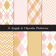 Gold, Blush Pink And White Argyle And Chevron Seamless Vector Patterns. Subtle Feminine Pastel Color Backgrounds. Repeating Pattern Tile Swatches Included.