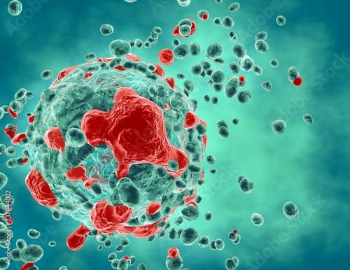 Fotografie, Obraz Cancer tumor cells growth and propagation illness process medical 3d illustration