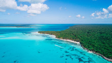 Aerial Drone View Of Saona Isl...