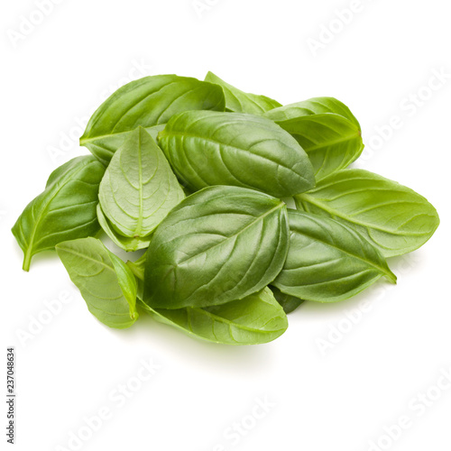 Fotobehang Aromatische Sweet basil herb leaves handful isolated on white background closeup