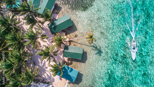Canvas-taulu Aerial drone view of Tobacco Caye small Caribbean island with palm trees and bun