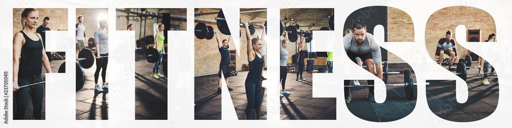 Fototapety, obrazy: Collage of fit people lifting heavy weights in a gym