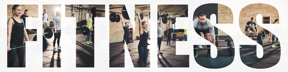 Collage of fit people lifting heavy weights in a gym