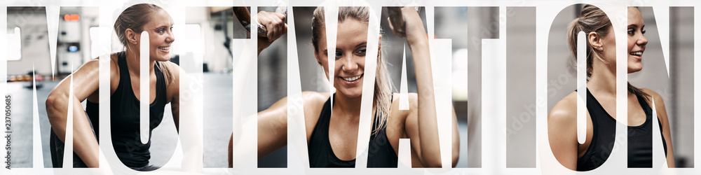 Fototapety, obrazy: Collage of a young woman smiling after her gym workout