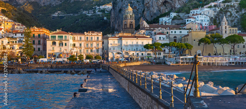 Fotobehang Stad aan het water panoramic view to Amalfi coast from pier in Compania region in Italy
