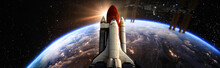 Space Shuttle Fly To The Earth Orbit Elements Of This Image Furnished By NASA F