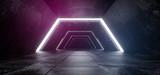 Fototapeta  - Spaceship Sci Fi Modern Futuristic Dark Foggy Concrete Reflection White Purple Blue Glowing Lights Empty Space For Text 3D Rendering