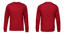 Blank Template Mens Red Pullover Long Sleeve, Front And Back View, Isolated On White Background. Design Sweatshirt Mockup For Print