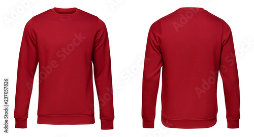 Blank template mens red pullover long sleeve, front and back view, isolated on white background with clipping path. Design sweatshirt mockup for print