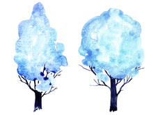 Hand-drawn Watercolor Tree. Winter Watercolor Tree. Blue Tree. Blue Ink Spot