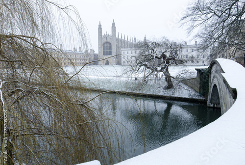 Snowy King's College, Cambridge Fototapete
