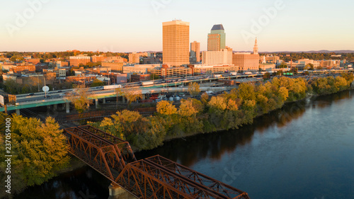 Fotografía Springfield Massachusetts Late Afternon Rush Hour Traffic Aerial Riverfront View