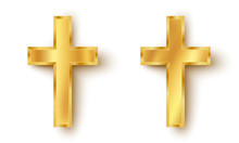 Set Icons Of A Golden Cross