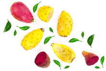 Red End Yellow Prickly Pear Or Opuntia Isolated On A White Background Decorated With Green Leaves. Top View. Flat Lay
