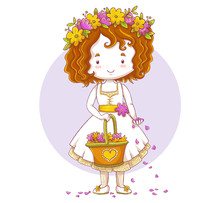 Cute Little Bridesmaid Character Drawing. Flower Girl Holding A Basket And Scattering Petals. Vector Illustration Isolated On Violet Circle And White Background.