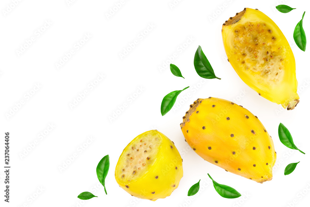 Fototapeta yellow prickly pear or opuntia isolated on a white background with copy space for your text. Top view. Flat lay