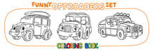 Funny Buggy Car Or Outroader Coloring Book Set.