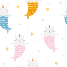 Seamless Pattern With Cat Mermaid And Unicorns Horn. Childish Fashion Print. Vector Hand Drawn Illustration.
