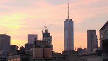 CLOSE UP: Driving Past One World Trade Center And Residential Buildings At Dawn