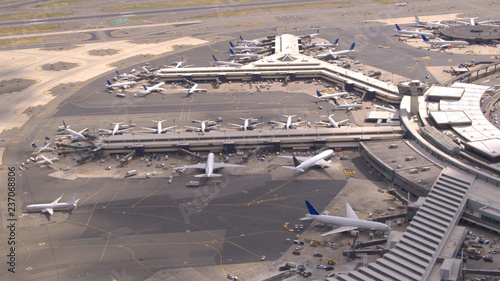 Fotografie, Obraz  AERIAL: New York Newark International airport terminals and boarding apron