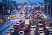 Traffic Jam During A Snowfall ...