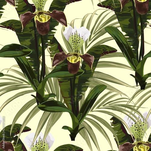 bezszwowy-wzor-tlo-z-brown-orchidea-palma-i-banany-opuszcza-na-zoltym-tle-recznie-rysowane-kolorowych-ilustracji