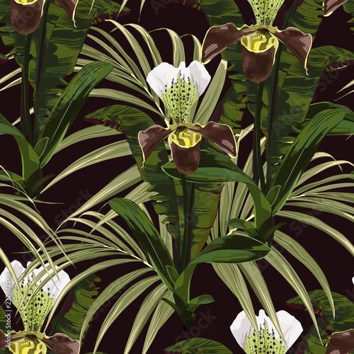 bezszwowy-wzor-tlo-z-brown-orchidea-palma-i-banany-opuszcza-na-czarnym-tle-recznie-rysowane-kolorowych-ilustracji