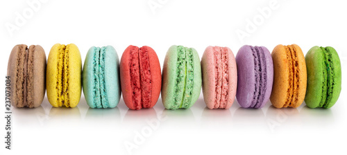 Macarons colorful macaroons isolated on white background closeup